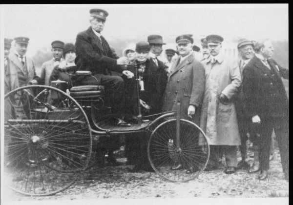 CARL FRIEDRICH BENZ German engineer and pioneer in the construction of motor vehicles, with his original motor car in Munich in 1925