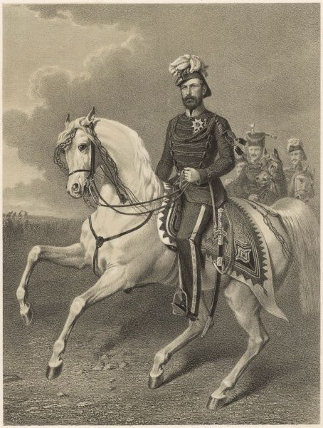 Carl (Charles) XV, King of Sweden (ruled 1859-1872), seen here in uniform riding a white horse. He was also King Charles IV of Norway
