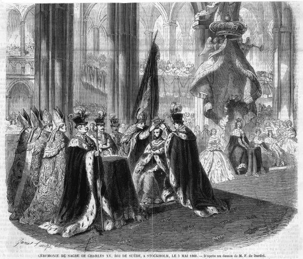The coronation of Carl XV of Sweden as king of Norway too, at Trondheim (formerly Trondhjem)