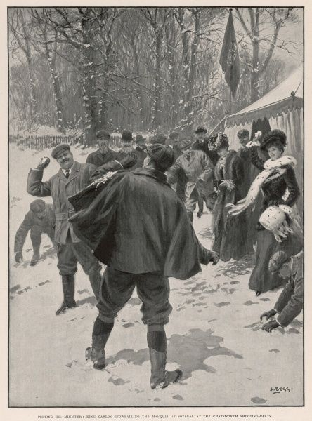 CARLOS I, KING OF PORTUGAL An impromptu snowball fight between King Carlos I of Portugal and the Marquis de Soveral on a visit to Chatsworth in 1904