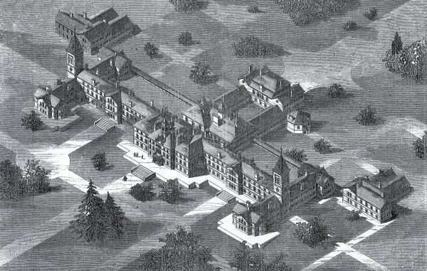 An aerial view of the Carmarthen Lunatic Asylum erected near Carmarthen, South Wales, in 1865 and designed by David Brandon. It was jointly used by the counties of Carmarthen, Cardigan and Pembroke. It later became known as the Joint Counties Mental Hospital