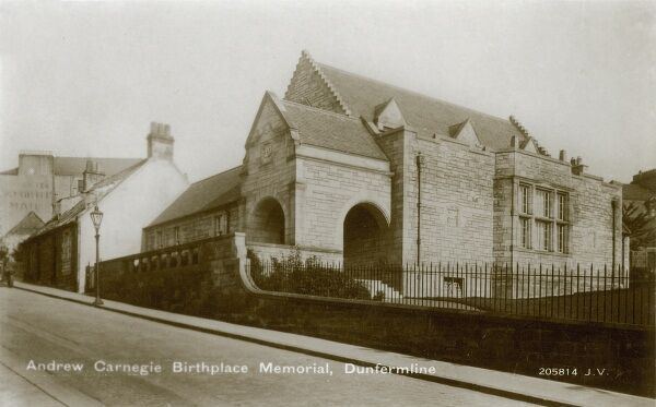 Birthplace Memorial and Museum to Andrew Carnegie (1835 - 1919) in Dunfermline. Carnegie's birthplace Cottage was bought in 1895 and let out to tenants. With the creation of the 'Carnegie Dunfermline Trust' in 1903, a caretaker was installed