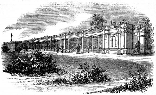 Engraving showing the exterior of the, then new, Carnivora House at the Zoological Society's Gardens (London Zoo) in Regent's Park, London, 1842