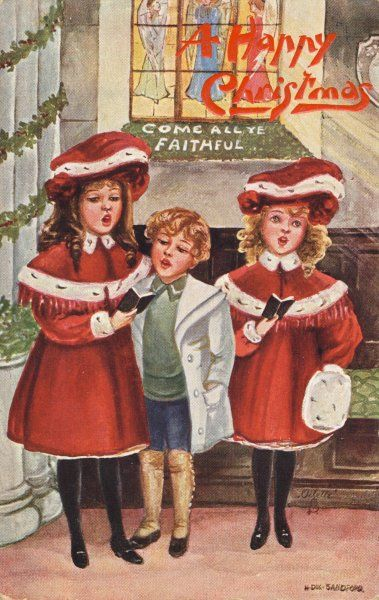 Two girls and a boy sing carols indoors though dressed for outdoors - perhaps they are visitors who have been invited in ?