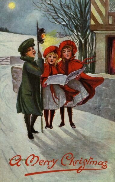 Carol singing by Hilda Dix Sandford. Illustration from a postcard by Hilda Dix Sandford (1875-1946). She specialised illustrating children at play. Date: circa 1909