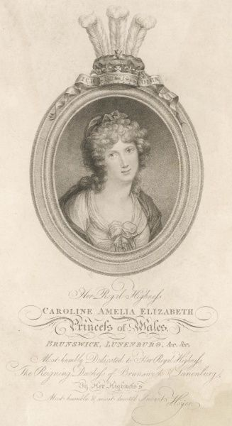 CAROLINE OF BRUNSWICK Amelia Elizabeth Caroline Queen of George IV Oval portrait in a frame surmounted by the Prince of Wales feathers