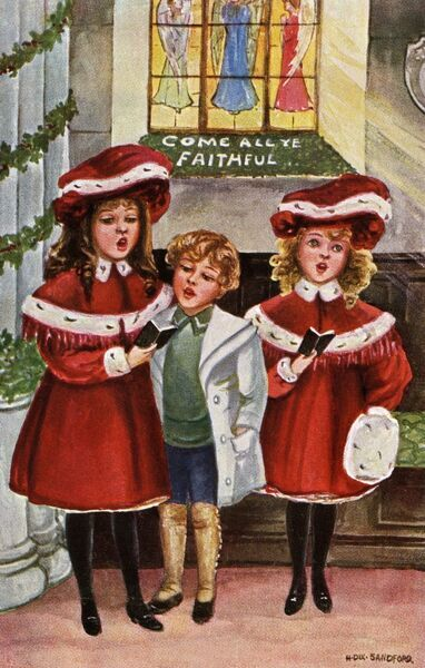 Carols in church by Hilda Dix Sandford. Illustration from a postcard by Hilda Dix Sandford (1875-1946). She specialised illustrating children at play. Date: circa 1909