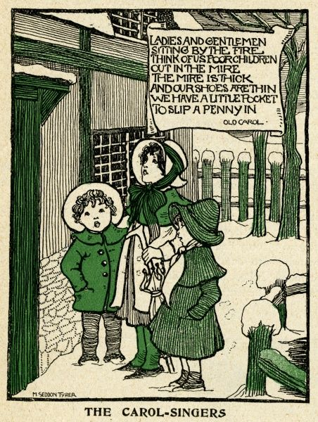 Three children sing carols outside an English country home Date: 1900