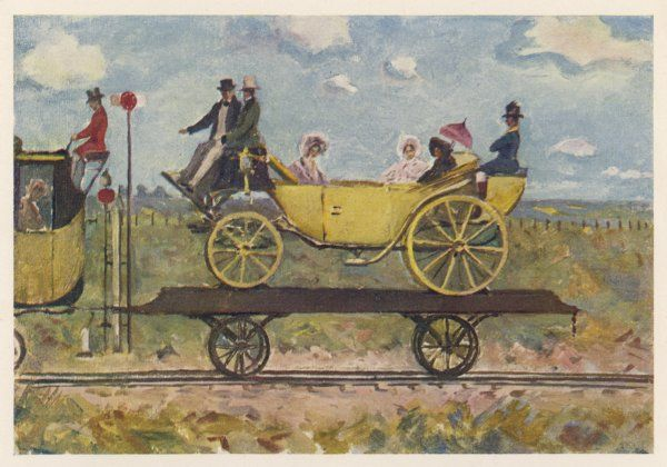 In the earliest days of the rail, a private carriage might be carried on a rail wagon - anticipating today's motorail service by a hundred years !