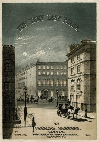 'THE LAST POLKA' Carriages waiting in a moonlit street outside a house where a ball is being held Date: circa 1860
