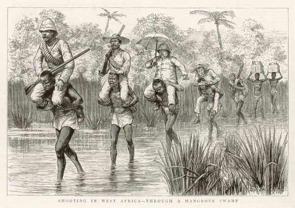 Members of a shooting party of British officers are carried across a shallow river by native carriers in central Africa, while two other porters bring the liquor