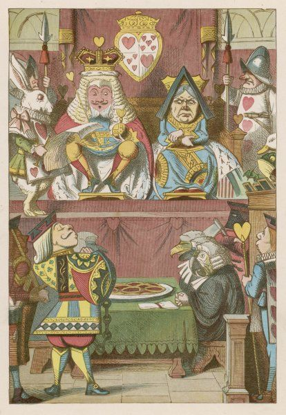 The trial of the Knave who (allegedly) stole the jam tarts, before the King of Hearts, acting as judge, and the Queen of Hearts
