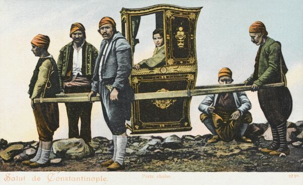Turkish carriers and attendants transport a noble lady in a finely decorated sedan chair, Constantinople, Turkey