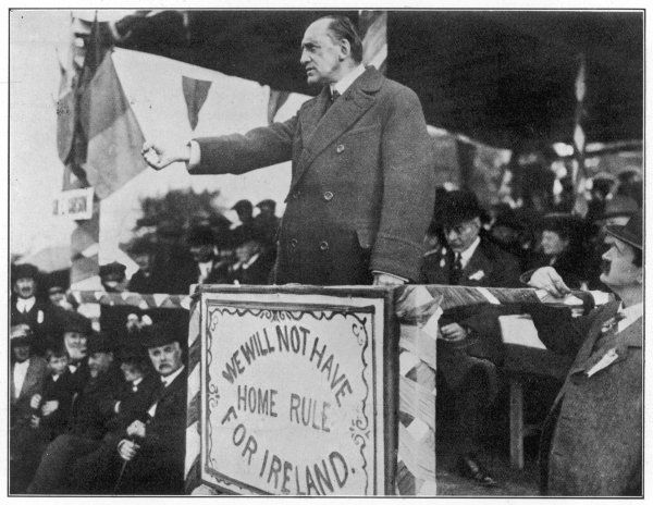 Edward Carson, leader of the Irish Unionists (1910-21) speaks out against Home Rule at a meeting in Belfast