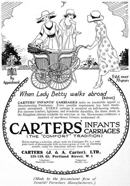 An advertisement for Carter's infant carriages