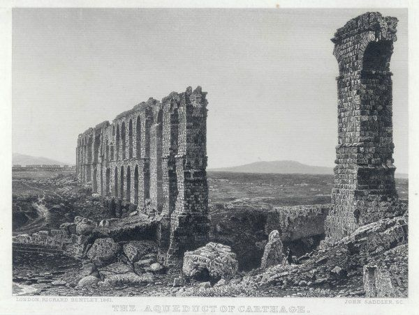 The remains of the aqueduct which brought water from the mountains to the ancient city of Carthage
