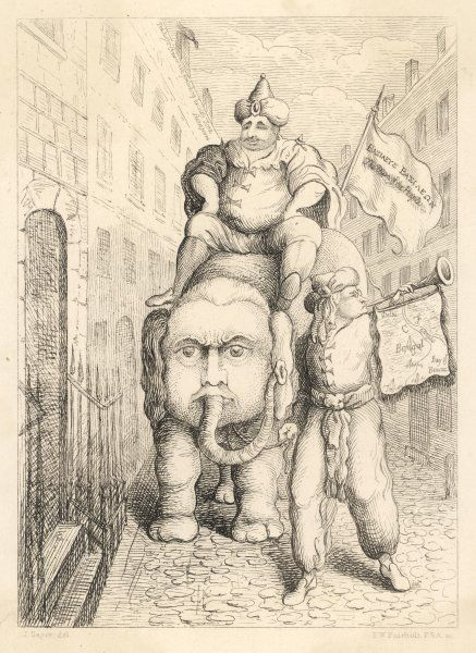 CARLO KHAN'S TRIUMPHAL ENTRY INTO LEADENHALL STREET Fox as an Indian astride an elephant with the face of Lord North heralded by Edmund Burke A satire on lofty ambition