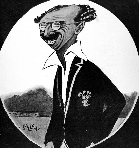 Cartoon of Percy Fender (1892-1985), the Surrey and England cricketer, who at that time was captain of his county