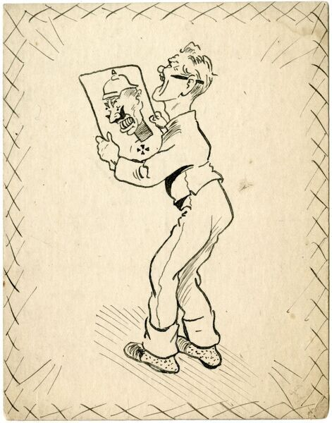 Original pen and ink drawing on a postcard showing an artist - a self-portrait by George Ranstead - having a little chuckle to himself as he admires a caricature of the German Emperor, Wilhelm II