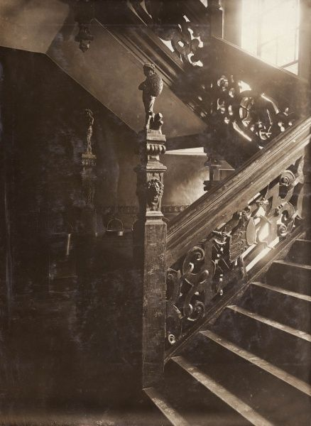 The carved staircase in Cromwell House, 104 Highgate Hill, North London