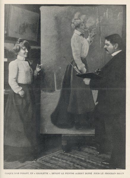 real name : Amelie Elie Noted Parisienne 'gigolette', gangster's moll who achieved fame after a fight between rival admirers : here she is being painted by Albert Depre