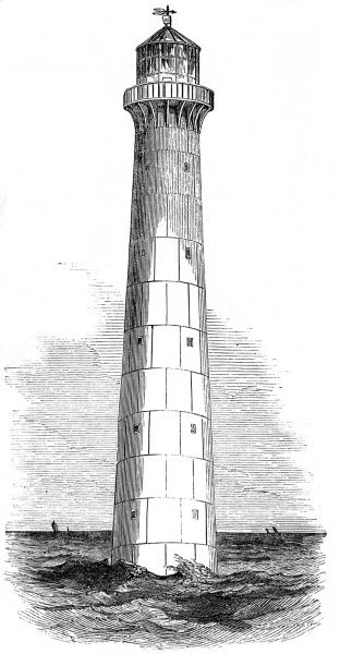 Engraving of a Cast Iron lighthouse, designed and built by Alexander Gordon and the Grissell & Co. Ironworks, which was intended for use in Barbados