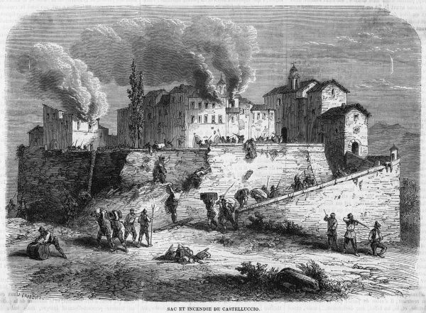 Castellucio is captured by the insurgents, sacked and fired