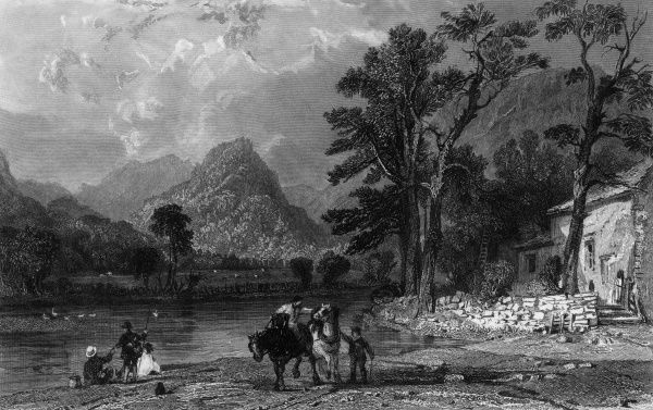 A party of sightseers admire the picturesque beauties of Castle Crag, Borrowdale, Cumbria, from the village of Grange, while their guide waits with their horses. Date: 1832