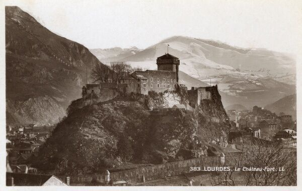 Lourdes Castle, France throughout history an important military fortress in a prime geographical location. Also used as a State Prison. Date: circa 1930s