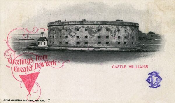 Castle Williams - situated on the northwest point of Governors Island, one of a series of forts built in the early 19th century to protect New York from sea attack. Date: circa 1900