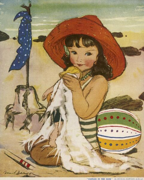 Lovely illustration featuring a little girl in a striped swimsuit and a big red straw sunhat, drying off her doll on the beach, presumably after a dip in the sea