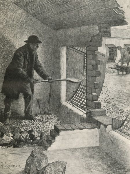 This intriguing image entitled, 'The sieve in the wall: in the casual ward', shows a 'casual', or a man who receives temporary relief in a workhouse that is not his own parish shovelling stones he has broken through the grille
