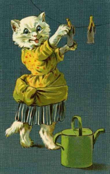 Cat hanging out washing by gh Thompson. George Henry Thompson (1859-1959) specialised in illustrating humorous animals. He was also a landscape painter. This image in books and postcards by Ernest Nister. Date: circa 1904