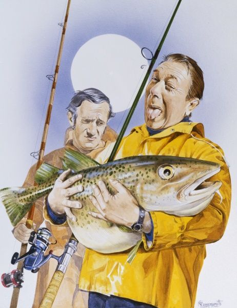 A jolly fisherman wearing a bright yellow waterproof jacket holds on to his mighty catch - an enormous cod. His fishing companion seems less than impressed with his catch or his bufoonery!