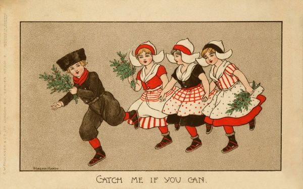A Dutch boy is chased by three Dutch girls most of whom are carrying mistletoe