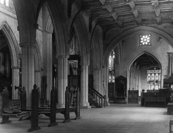 A side aisle of the spacious interior of Thaxted Church, Essex, England, aptly called, due to its size and splendour, the 'Cathedral of Essex'. Date: 14th, 15th & 16th century