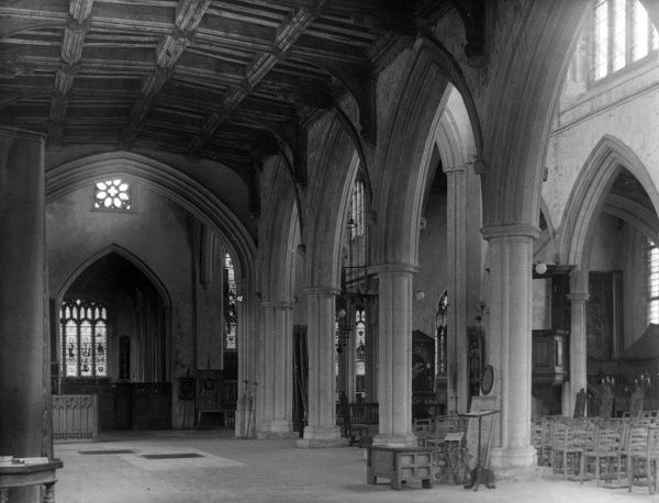 A corner of the spacious interior of Thaxted Church, Essex, England, aptly called, due to its size and splendour, the 'Cathedral of Essex'. Date: 14th, 15th & 16th century