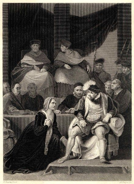 The trial of the marriage between Henry VIII and Catherine of Aragon. It ends in divorce