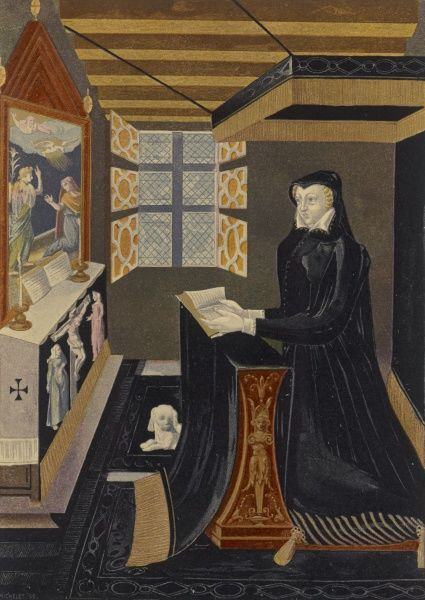 CATHERINE DE MEDICIS queen of Henri II of France, at prayer