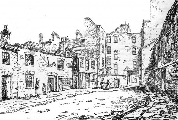 A view of Cato Street,showing the stable and loft used by the conspirators, where most of the gang were arrested on 23 February 1820 Date: 1820
