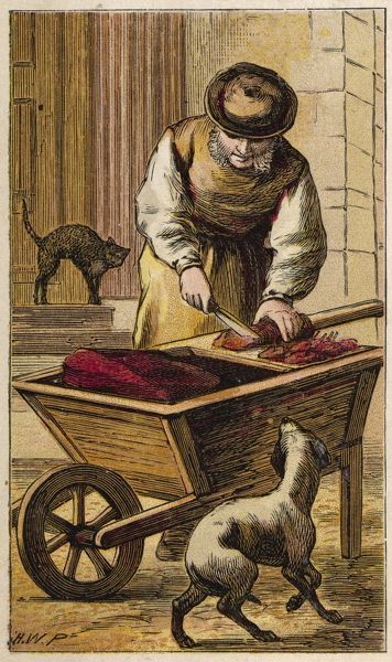 London characters: one day they will enjoy Whiskas and Felix, but for now London's feline population must manage on meat freshly cut by the itinerant CATS' MEAT MAN