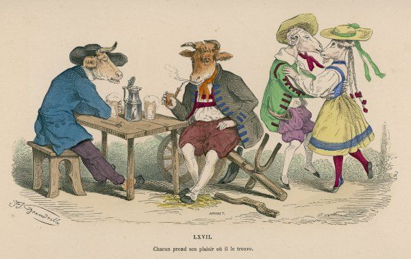 Two cattle sit drinking at an inn, while two goats dance