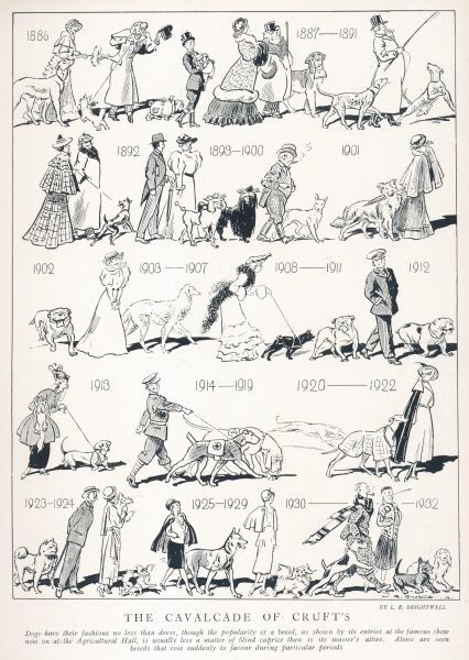 A humorous sequential picture showing the changing tastes of dog breeds in Britain through the years from the Victorian period to 1932