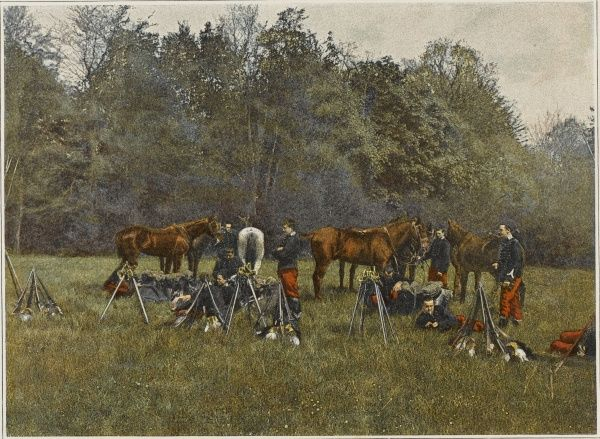 When French cavalry bivouac for the night, the horses are tethered near their weapons in case of a surprise attack by the enemy