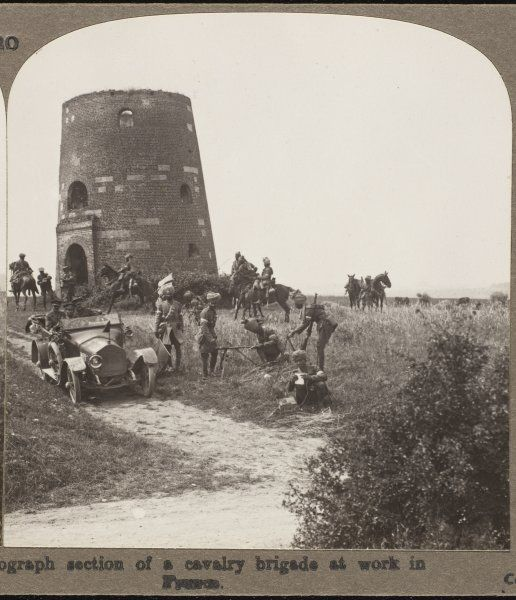 Heliograph section of a Sikh cavalry brigade in the British army at work near a French tower