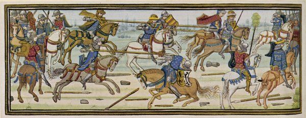 Cavalry fight, supposedly of Alexander the Great, but in 15th century style