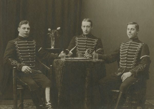 Three young uniformed cavalrymen, Malmo, Sweden, 1920s. Date: 1920s