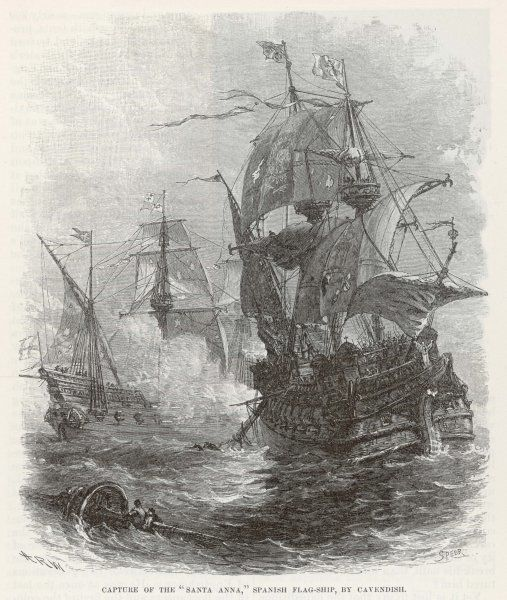 Thomas Cavendish captures the Spanish vessel 'Santa Anna&#39
