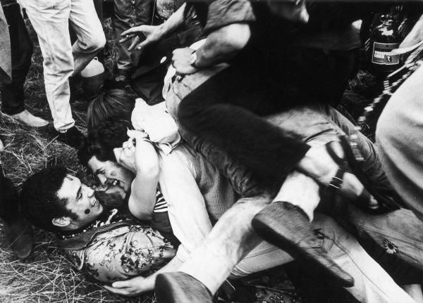 HIPPIES - FREE LOVE A group of young hippies happily cavorting together during the Love-In at Woburn Park, Bedfordshire, England. Date: August 1967