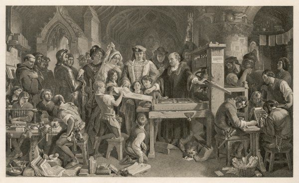 Caxton showing the first specimen of his printing to King Edward IV at the Almonry, Westminster